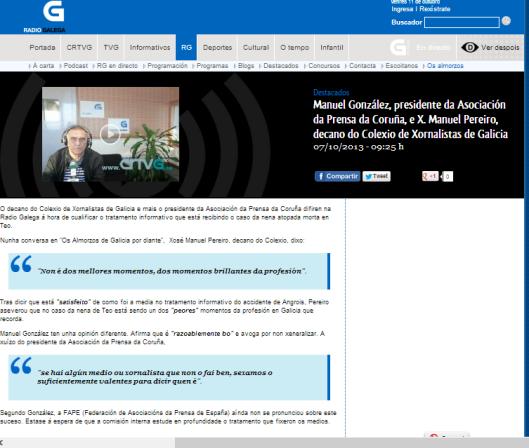 Entrevistas aos persoeiros de actualidade   Manuel González  presidente da Asociación da Prensa da Coruña  e X. Manuel Pereiro  decano do Colexio de Xornalistas de Galicia   CRTVG