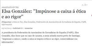 Galiciaé   Elsa González    Impúxose a caixa á ética e ao rigor